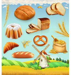 Farm Wheat and bread Food 3d set vector image