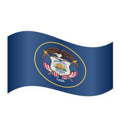 flag of utah waving on white background vector image vector image