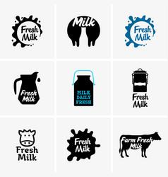 fresh milk signs vector image vector image
