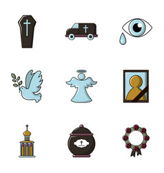 Funeral shipping icons set flat style vector