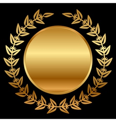 gold laurels on black vector image