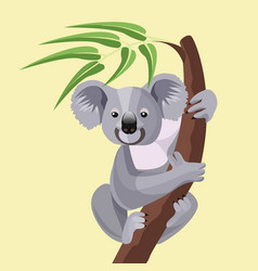 grey koala bear isolated on wood branch with green vector image vector image