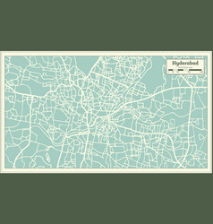 Hyderabad india city map in retro style outline vector