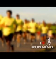 I love running blurred background vector image