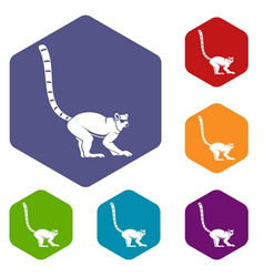 Lemur monkey icons set hexagon vector