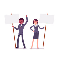 Man and woman with standing picket signs copy vector