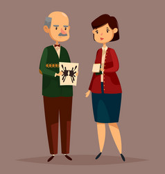 Man psychologist holding rorschach test and woman vector