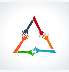 multiracial human hands in a triangle vector image vector image
