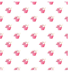 pink beach bag and hat pattern vector image