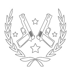 Pistol emblem line-art vector