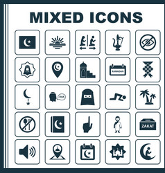 Religion icons set collection of bullhorn vector