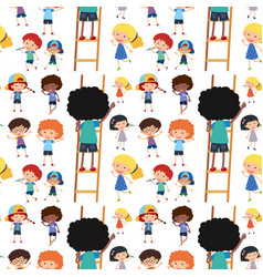 Seamless background template with happy children vector