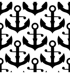 Seamless pattern of nautical black anchors vector