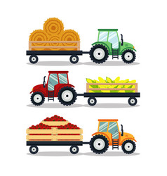 set flat tractors with a cart corn hay tomato vector image