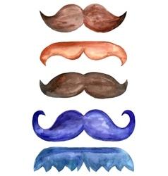 Set of watercolor male mustache vector