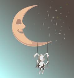 smiling moon with rubbit1 vector image