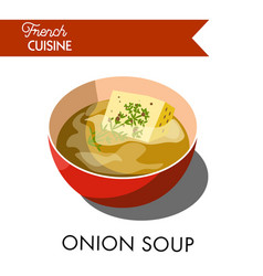Unusual onion soup from french cuicine isolated vector