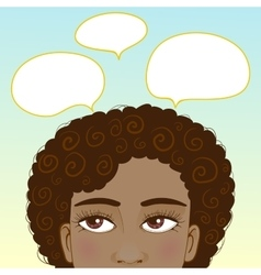 African american girl with speech bubbles vector