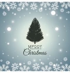 Card merry christmas with tree graphic vector