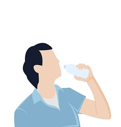 Man bottle drinking water graphic vector