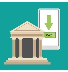 Bank building smartphone pay online vector