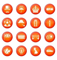 Great britain icons set vector