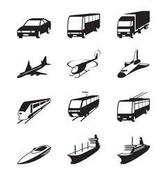 Road sea and space transportation icons set vector