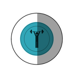 Blue symbol person lifting weights gym vector