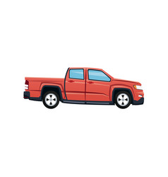 Red pickup truck vehicle transport vector