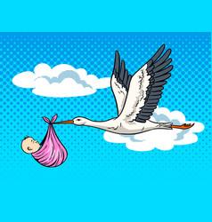 Stork brings baby pop art vector