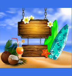 summer wooden sign on tropical beach background vector image