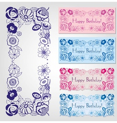 Happy birthday label design with floral frame vector