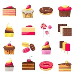 Set of fifteen delicious desserts vector