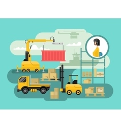 Warehouse logistics concept design vector