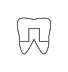 Crowned tooth line icon vector