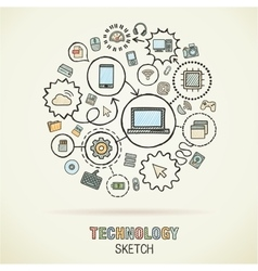 Technology hand drawing integrated sketch icons vector