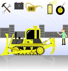Service and diagnostics bulldozer detalied vector