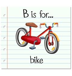 Flashcard letter b is for bike vector