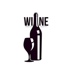 bottle of wine with glass icon vector image vector image