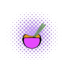 Bowl of rice with chopsticks icon comics style vector image