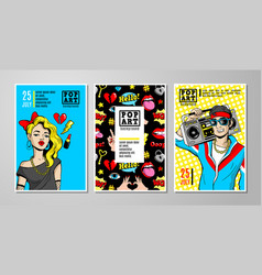 Cards and banners in 80s-90s comic style vector
