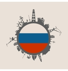Cargo port relative silhouettes russia flag vector