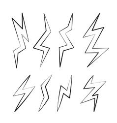 cartoon set of Lightning Bolts vector image