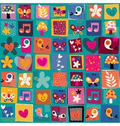 cute flowers birds hearts pattern 2 vector image vector image