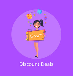 Discount deals poster with smiling girl dreaming vector