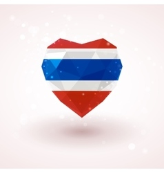 Flag of thailand in shape diamond glass heart vector