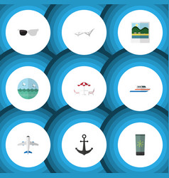Flat icon beach set of spectacles ship hook vector
