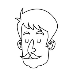 Head man with mustache close eyes outline vector