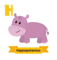 Hippopotamus h letter cute children animal vector