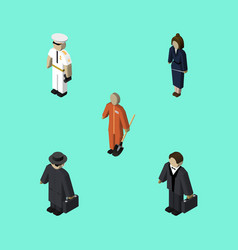isometric human set of businesswoman detective vector image vector image